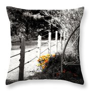 Fence Near The Garden Throw Pillow by Julie Hamilton