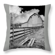 Fence Posts And Barn Throw Pillow