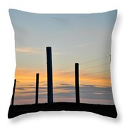 Fence Posts At Sunset Throw Pillow