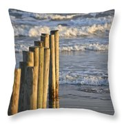 Fence Posts Into The Sea Throw Pillow