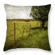 Fence With Tree Throw Pillow