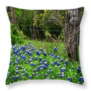 Fenced In Bluebonnets Throw Pillow