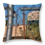 Fenced In  Abandoned 1950's Motel Trailer Throw Pillow
