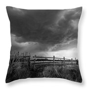 Fenced In - Western Oklahoma Scene In Black And White Throw Pillow