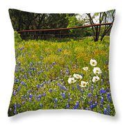 Fenceline Wildflowers Throw Pillow