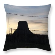 Fencing Devil's Tower Throw Pillow