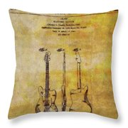 Fender Guitar Patent On Canvas Throw Pillow
