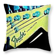 Fender Head In Watercolor Photo Throw Pillow