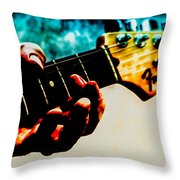 Fender Strat Throw Pillow by Bob Orsillo
