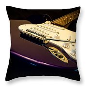 Fender Stratocaster In Blue Throw Pillow