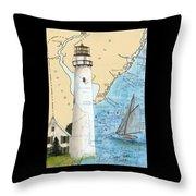 Fenwick Island Lighthouse De Nautical Chart Map Art Cathy Peek Throw Pillow