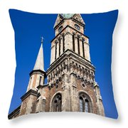 Ferencvaros Church Tower In Budapest Throw Pillow