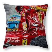 Fernando Alonso And Ferrari F10 Throw Pillow