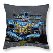 Fernando Alonso In Blue Throw Pillow