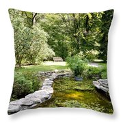 Fernwood Botanical Garden Frog Pond With Bench Niles Michigan Us Throw Pillow