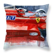 Ferrari 126c Silverstone 1981 British Gp Gilles Villeneuve Throw Pillow
