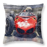Ferrari 156 Sharknose Phil Hill Monaco 1961 Throw Pillow
