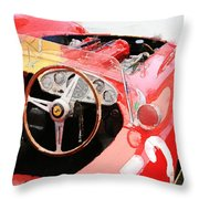 Ferrari Cockpit Monterey Watercolor Throw Pillow