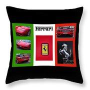 Ferrari Collage On Italian Flag Throw Pillow
