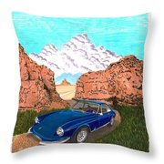 1969 Ferrari 365 G T C In The Mountains 1969 365 G T C Throw Pillow