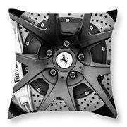 Ferrari Wheel Emblem - Brake Emblem -0430bw Throw Pillow
