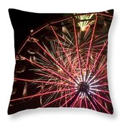 Ferris Wheel And Fireworks Throw Pillow