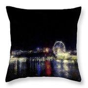 Ferris-wheel At The River Throw Pillow