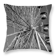 Ferris Wheel In Black And White Throw Pillow