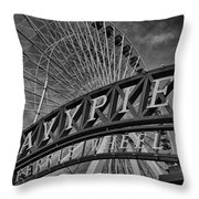Ferris Wheel Navy Pier Throw Pillow