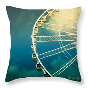 Ferris Wheel Old Photo Throw Pillow
