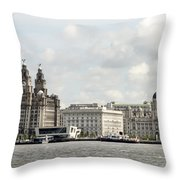 Ferry At Liverpool Throw Pillow