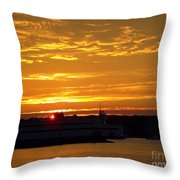 Ferry At Sunset Throw Pillow