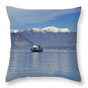 Ferry Boat On An Alpine Lake Throw Pillow