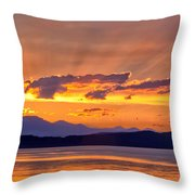 Ferry Crossing Sunset Throw Pillow
