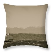 Ferry In Rough Water Heading Toward The Olympics Throw Pillow