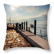 Ferry Leaves Long Wharf Throw Pillow