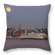Ferry Under A Full Moon Throw Pillow