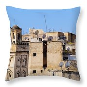 Fes Cityscape In Morocco Throw Pillow