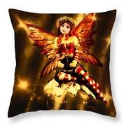 Festive Amber Fairy Throw Pillow