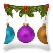 Festive Christmas Baubles Throw Pillow