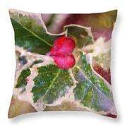 Festive Holly Throw Pillow