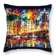 Few Boats - Palette Knife Oil Painting On Canvas By Leonid Afremov Throw Pillow