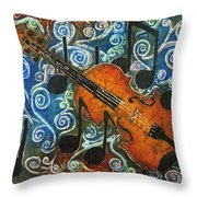 Fiddle 1 Throw Pillow by Sue Duda