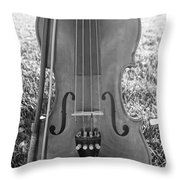 Fiddle And Bow Bw Throw Pillow