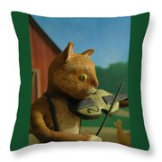 Fiddle Cat 2 Throw Pillow