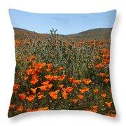 Fiddlenecks And Poppies Throw Pillow