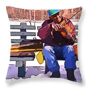 Fiddling Around In The Cold  Throw Pillow