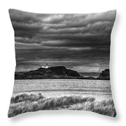 Fidra Island Lighthouse Throw Pillow