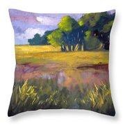 Field Grass Landscape Painting Throw Pillow