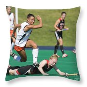 Field Hockey Hurdle Throw Pillow